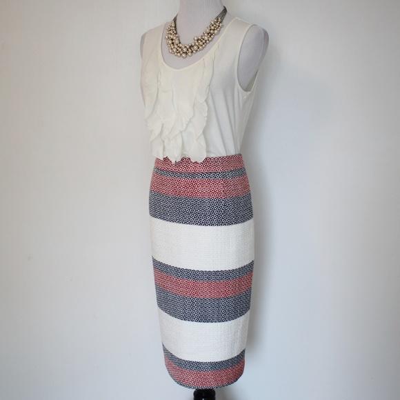Halogen Dresses & Skirts - HALOGEN Size 4 Pencil Skirt Red Ivory Blue Stripes